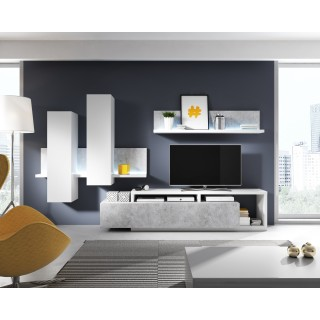 TV Seksjon Scaleo - Betonggrå - Hvit Matt - Moderne Veggseksjon