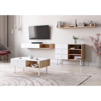 Tv-seksjon Tulia - Hvit - Eikelool - Med Sofabord