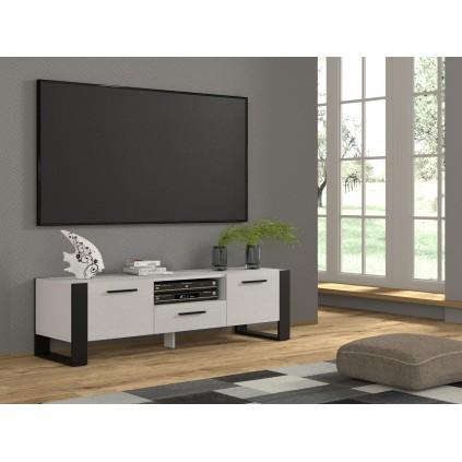 Tv-benk Nuko 160 x 48 - Hvit matt - Svart matt