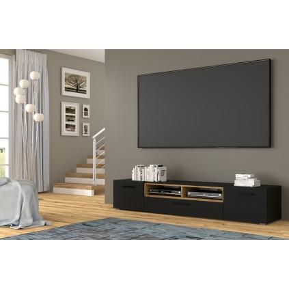 Tv-benk Anelle 198 x 40 - Svart matt - Eikelook