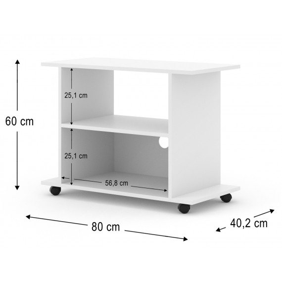 Leon tv benk 80 x 60 cm - Hvit