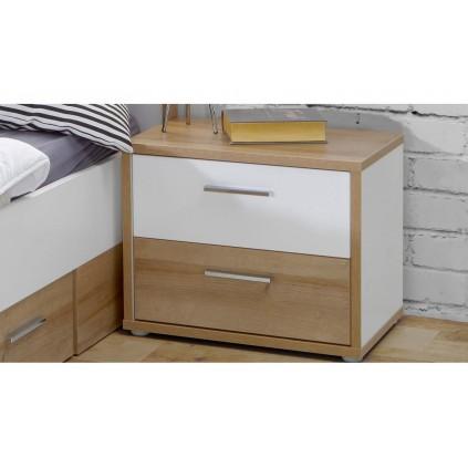 Nattbord Oakley 55x45 cm - Trelook - Hvit høyglans