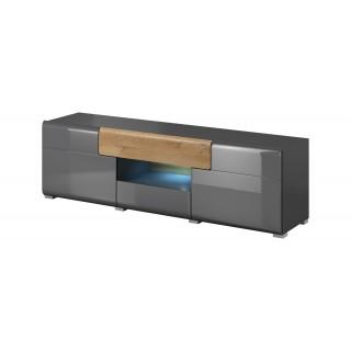 Tv-benk Antrea 159x48 cm - Antrasitt høyglans - med skuff
