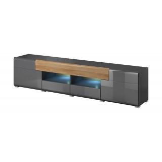 Tv-benk Antrea 208x48 cm - Antrasitt høyglans - med skuff