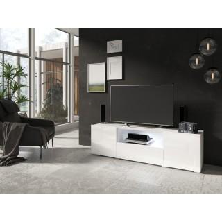 Tv-benk Delea 160x47 cm - Hvit høyglans - med dører