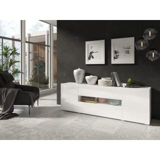 Tv-benk Delea 182x61 cm - Hvit høyglans - med dører