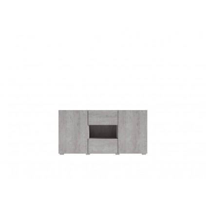 Skjenk Delos 137x69 cm - Betongfinish - 3 dører - 1 skuff