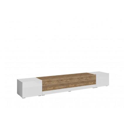 Tv-benk Revon 240x35 cm - Hvit høyglans - Trelook