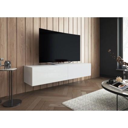 Hvit Høyglans TV benk Vienna 150  cm - Vegghengt