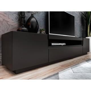 Mer omTV-benk Teon 200 cm - Svart matt - 2 dører