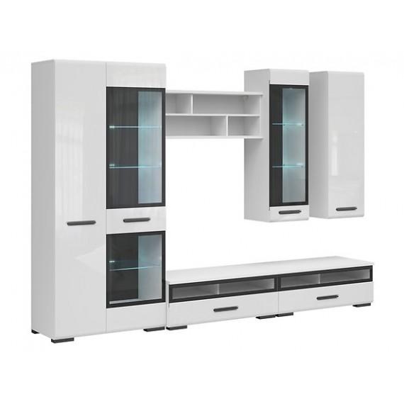 Tv-sekjon Asena 290 cm - Hvit høyglans