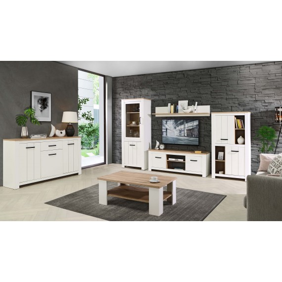 TV seksjon Elero 344x185 cm - Eik bianco - Hvit matt