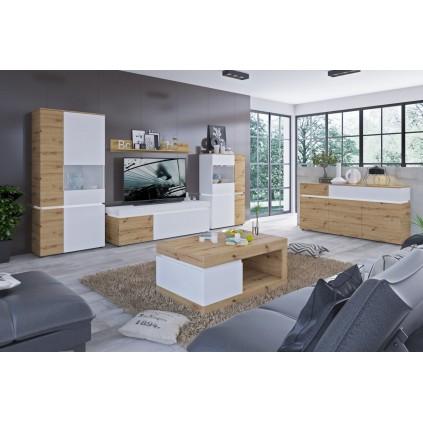 TV-benk Lucia 150x56 - Naturlook - Hvit matt - med belysning