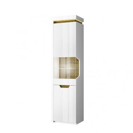 Vitrineskap Torrina 54x200 cm - Trelook - Hvit høyglans  - 2 dører