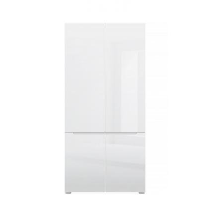 Garderobe Elok 90x190 cm - Hvit høyglans - 4 dører