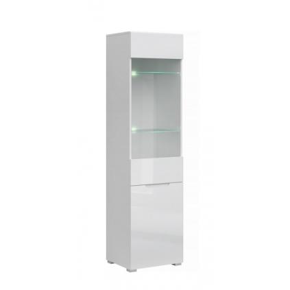 Vitrineskap Elok 50x190 cm - Hvit høyglans - 2 dører