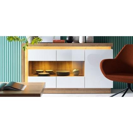 Skjenk Lyon 158 cm - Eik - Hvit - Unik Design