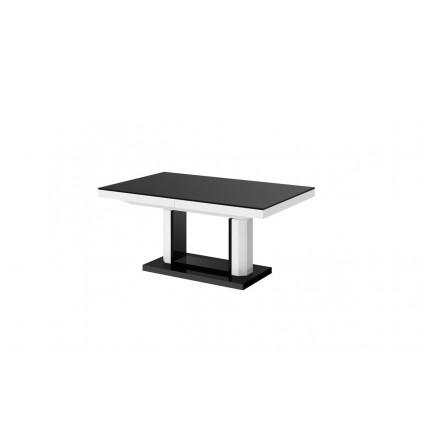 Sofabord Kwadro 120-170 cm - Høyt - Høyglans hvit - Høyglans svart