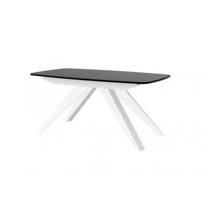 Spisebord Maka 160-256 cm - Svart høyglans - Hvit høyglans