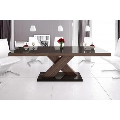 Spisebord Ksenon 160-208 cm - Brun høyglans -Brun Nøtt