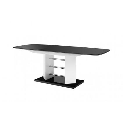 Spisebord MIA 160-256 cm - Svart høyglans - Hvit høyglans