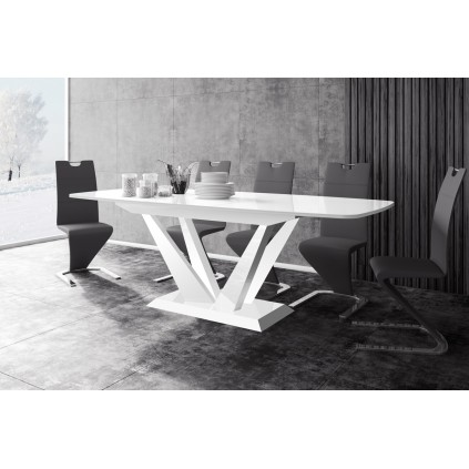 Spisebord Nubi 160-256 cm - Høyglans hvit