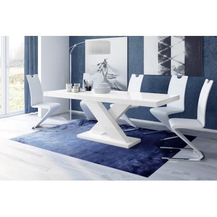 Spisebord Ksenon 160-208 cm - Hvit høyglans
