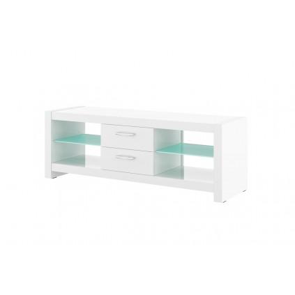 Tv-benk Bella 150x53 cm - Hvit høyglans - 2 skuffer - LED