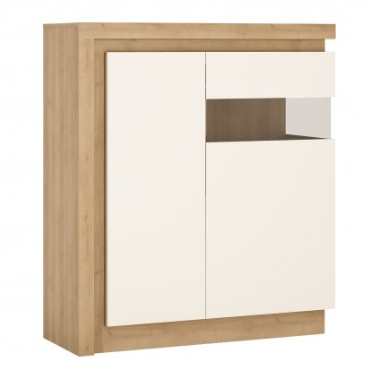 Skjenk Lyon 108x124 cm - Eikelook - Hvit Høyglans