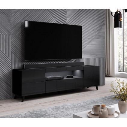 TV-benk Raxo 184x58 cm - Svart høyglans - 2 dører