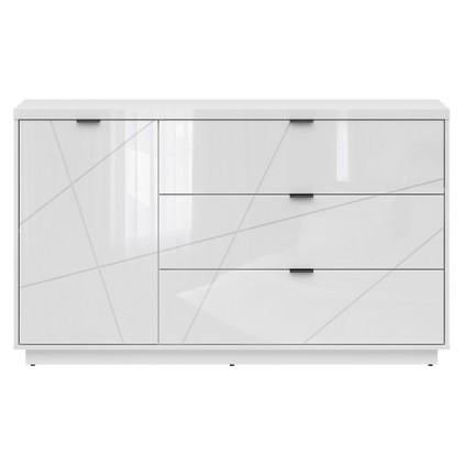 Skjenk Fara 156x93 cm - Hvit høyglans - 1 dør - 3 skuffer