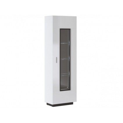 Vitrineskap Avenna 64x202 cm - Hvit høyglans - 1 dør