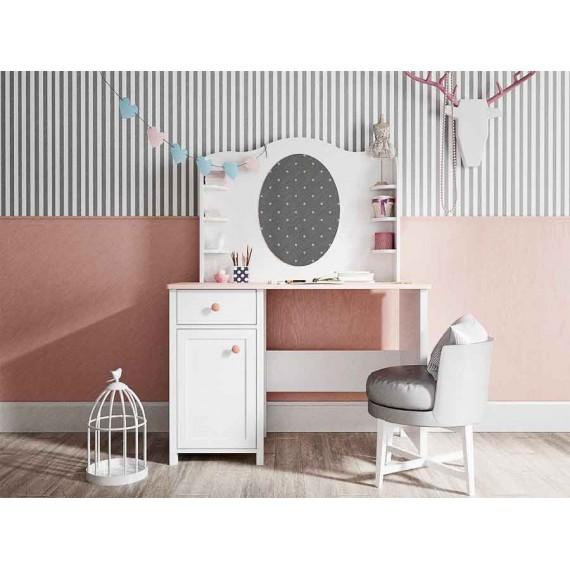 Toalettbord med speil og hyller Lena 110 x 157 cm - Hvit matt - Rosa