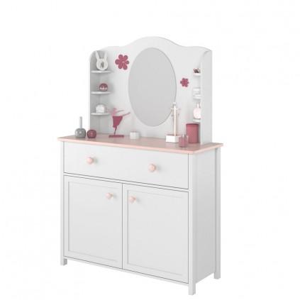 Toalettbord med speil og hyller Lena 110 x 171 cm - Hvit matt - Rosa