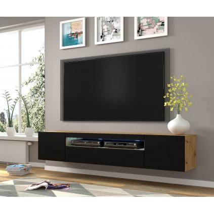 TV-benk Oreo 200x42 cm - Eikelook - Svart matt