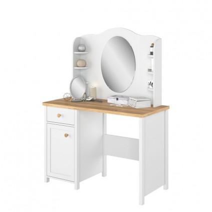 Toalettbord med speil og hyller Stora 110 x 157 cm - Hvit matt - Eik