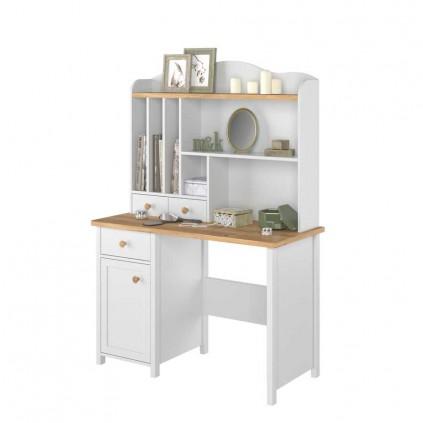 Toalettbord med hyller Stora 110 x 161 cm - Hvit matt - Eik