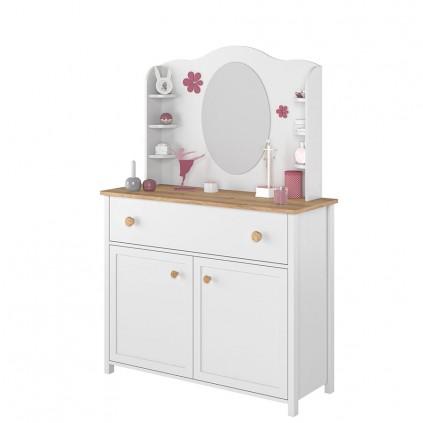 Toalettbord med speil og hyller Stora 110 x 171 cm - Hvit matt - Eik