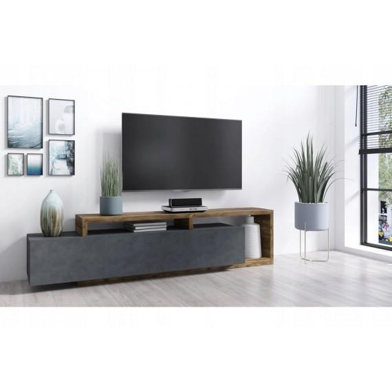 TV-Benk Scaleo 219 cm - Eikelook - Grå