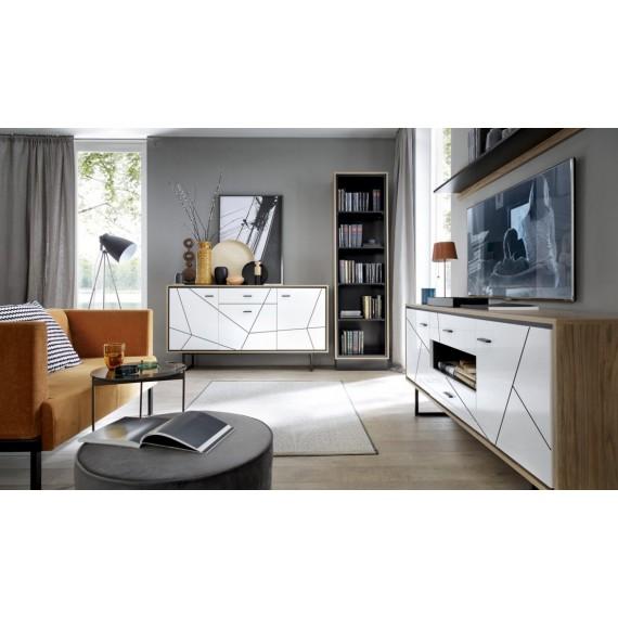 TV-Benk Barelo 167 cm - Eikelook - Hvit høyglans - Høy