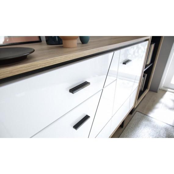 Skjenk Barelo 167x90 cm - Eikelook - Hvit høyglans - 3 dører