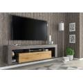 Vegghengt tv-benk Kayo 160 cm - Mørk betong - Eik