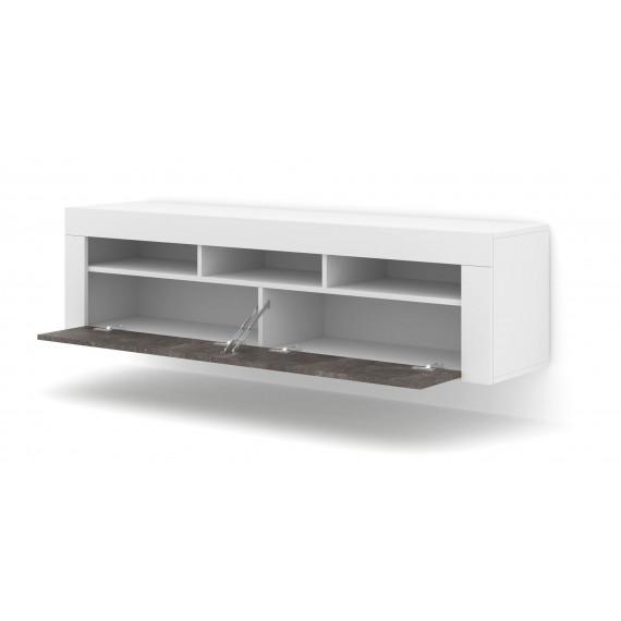 Vegghengt tv-bord Moreno 160 cm - Hvit - Betong